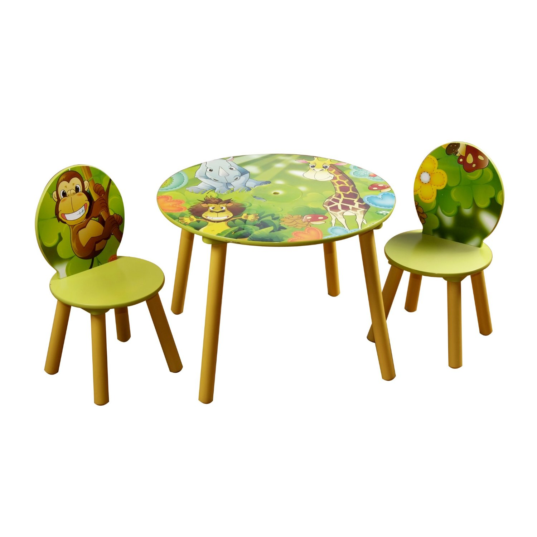 Testshop - Dschungel Holz Rundtisch und Stühle